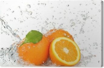 Canvas Oranje vruchten en opspattend water
