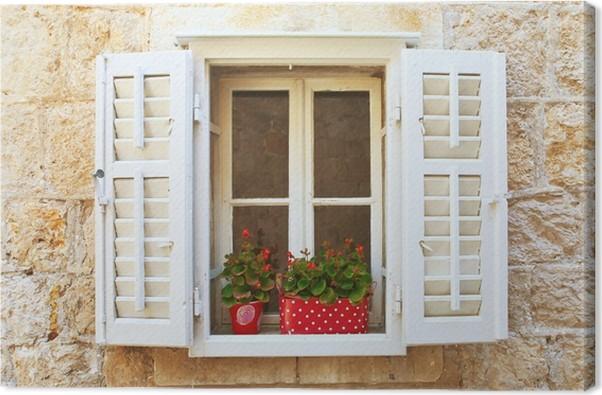Canvas oud shutter ramen met bloemen. montenegro. u2022 pixers® we