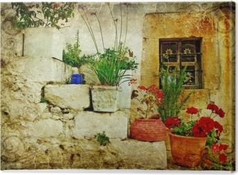 Canvas Oude dorpen van Griekenland - artistieke retro stijl