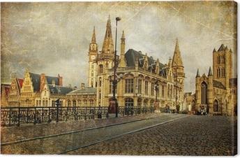Canvas Oude gotische België - Gent-retro stijl foto