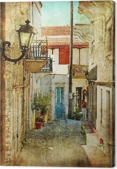 Canvas Oude Griekse straten-artistieke foto