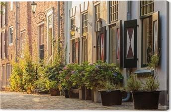 Canvas Oude huizen in het historische centrum van de Nederlandse stad Amersfoort