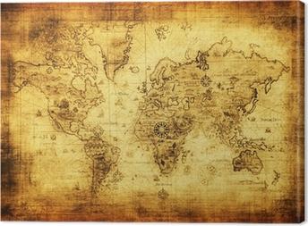 Canvas Oude kaart van de wereld