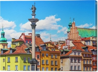 Canvas Oude stad in Warschau, Polen