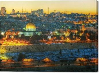Canvas Overzicht van de Oude Stad in Jeruzalem, Israël