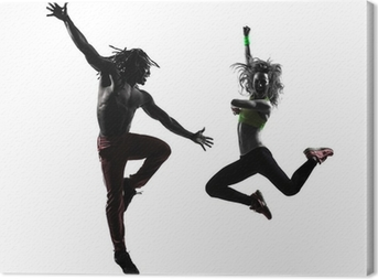 Canvas Paar man en vrouw te oefenen fitness zumba dansen silhouet
