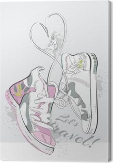Canvas Paar sneakers met veters in de vorm van een hart. Hand getrokken vector illustratie.
