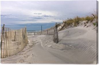 Canvas Pad door zandduinen op een strand op Long Island, New York