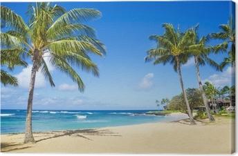 Canvas Palmbomen op het zandstrand in Hawaii