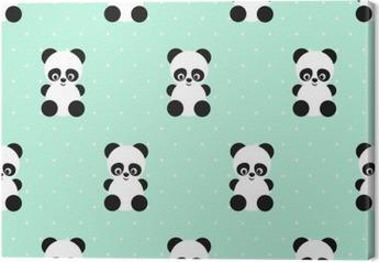 Canvas Panda naadloos patroon op stippen groene achtergrond. Leuk ontwerp voor print op de kleding van de baby, textiel, behang, stof. Vector achtergrond met lachende baby dier panda. Kind stijl illustratie.