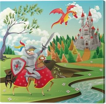 Canvas Panorama met kasteel, dragon en knight. vector illustratie