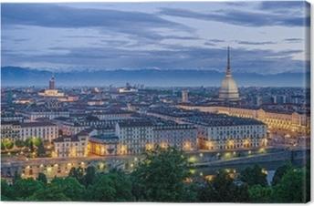 Canvas Panorama van Turijn tijdens de schemering
