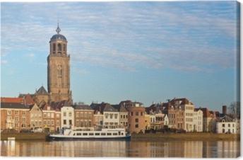 Canvas Panoramisch uitzicht op de middeleeuwse Nederlandse stad Deventer