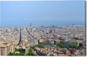 Canvas Panoramisch uitzicht over Barcelona, Spanje (Europa)