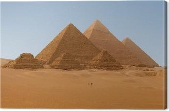 Canvas Panoramische uitzicht op zes Egyptische piramiden in Giza, Egypte