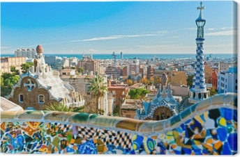 Canvas Park Guell in Barcelona, Spanje.