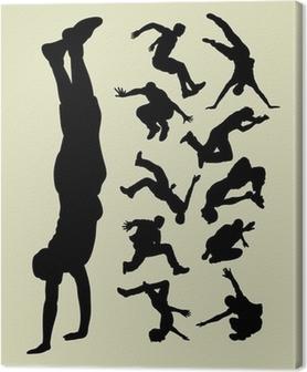 Canvas Parkour silhouetten