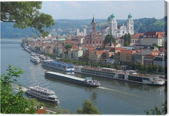 Canvas Passau, de stad van Three Rivers, Beieren, Duitsland.