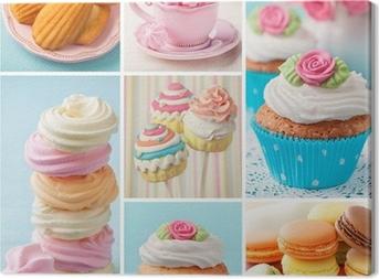 Canvas Pastelkleurige taarten collage