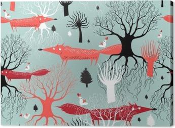 Canvas Patroon bomen en vossen