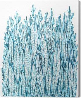 Canvas Patroon van blauwe bladeren, gras, veren, waterverf inkttekening