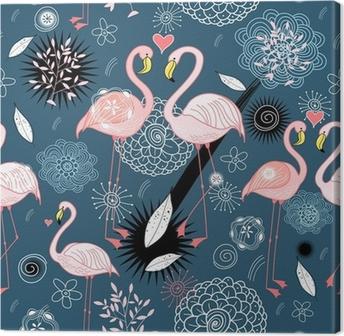 Canvas Patroon van de liefde flamingo