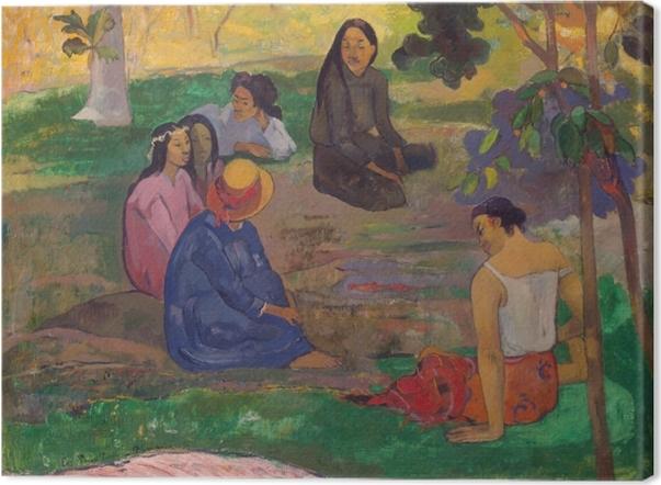 Canvas Paul Gauguin - Het gesprek - Reproducties