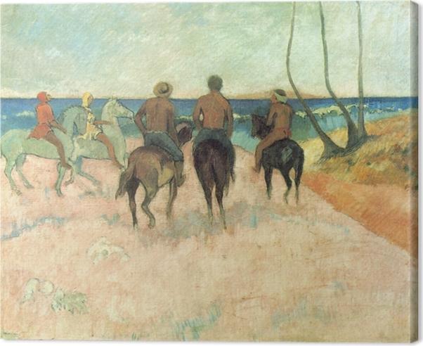Canvas Paul Gauguin - Ruiters op het strand - Reproducties