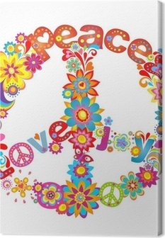 Canvas Peace bloem symbool met hippie symbolische