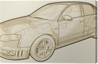 Canvas Perspectief schetsmatig illustratie van een Audi A4.