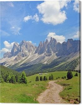 Canvas Pieken van de berg in de Alpen