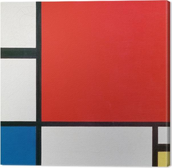 Canvas Piet Mondriaan - Compositie II in Rood, Blauw en geel - Reproducties