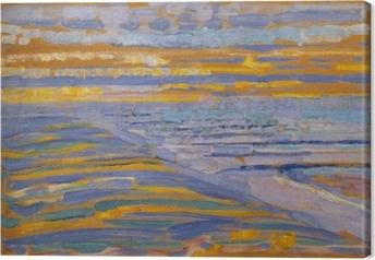 Canvas Piet Mondriaan - Gezicht op strand en pier vanaf de duinen, Domburg