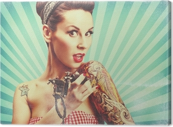 Canvas Pin-up girl met tatoeages