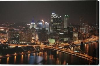 Canvas Pittsburgh de skyline van de Mount Washington in de nacht.