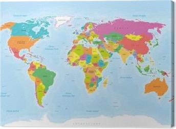 Canvas Planisfeer Mappemonde. Textes en Français vectorisés