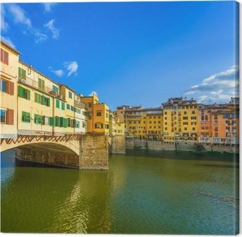 Canvas Ponte Vecchio op zonsondergang, oude brug, Florence. Toscane, Italië.