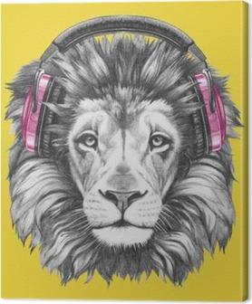 Canvas Portret van de Leeuw met een koptelefoon. Hand getrokken illustratie.