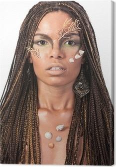 Canvas Portret van een Afrikaanse Amerikaanse vrouw met dreadlocks