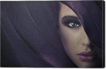 Canvas Portret van een jonge schoonheid, veel kopie-ruimte
