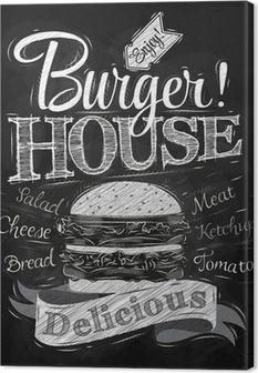 Canvas Poster belettering Burger House beschilderd met een hamburger en inscr