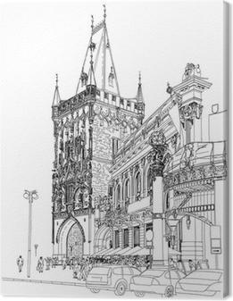 Canvas Praag - Kruittoren & Gemeenschapshuis. Vector architectonische dr
