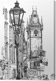 Canvas Praag, Tsjechië - een vector schets