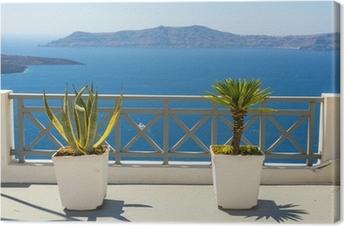 Canvas Prachtig uitzicht op zee vanaf Fira in Santorini, Griekenland