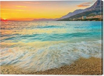 Canvas Prachtige zonsondergang boven de zee, Makarska, Kroatië