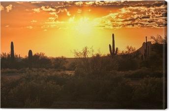Canvas Prachtige zonsondergang van de Arizona woestijn met cactussen