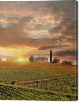 Canvas premium Chianti wijngaard landschap in Toscane, Italië