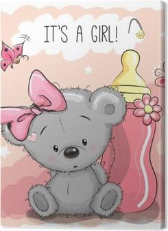 Canvas premium Cute Cartoon Bear meisje