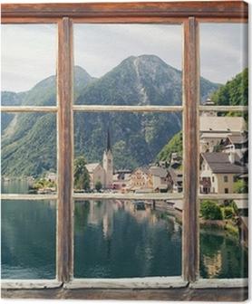 Canvas premium Fensterblick Hallstatt
