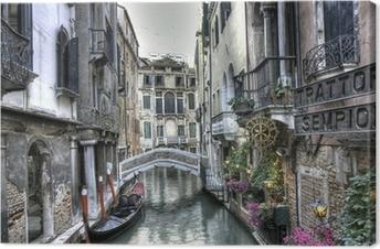 Canvas premium Gondel, Palazzi und Bruecke, Venedig, Italien